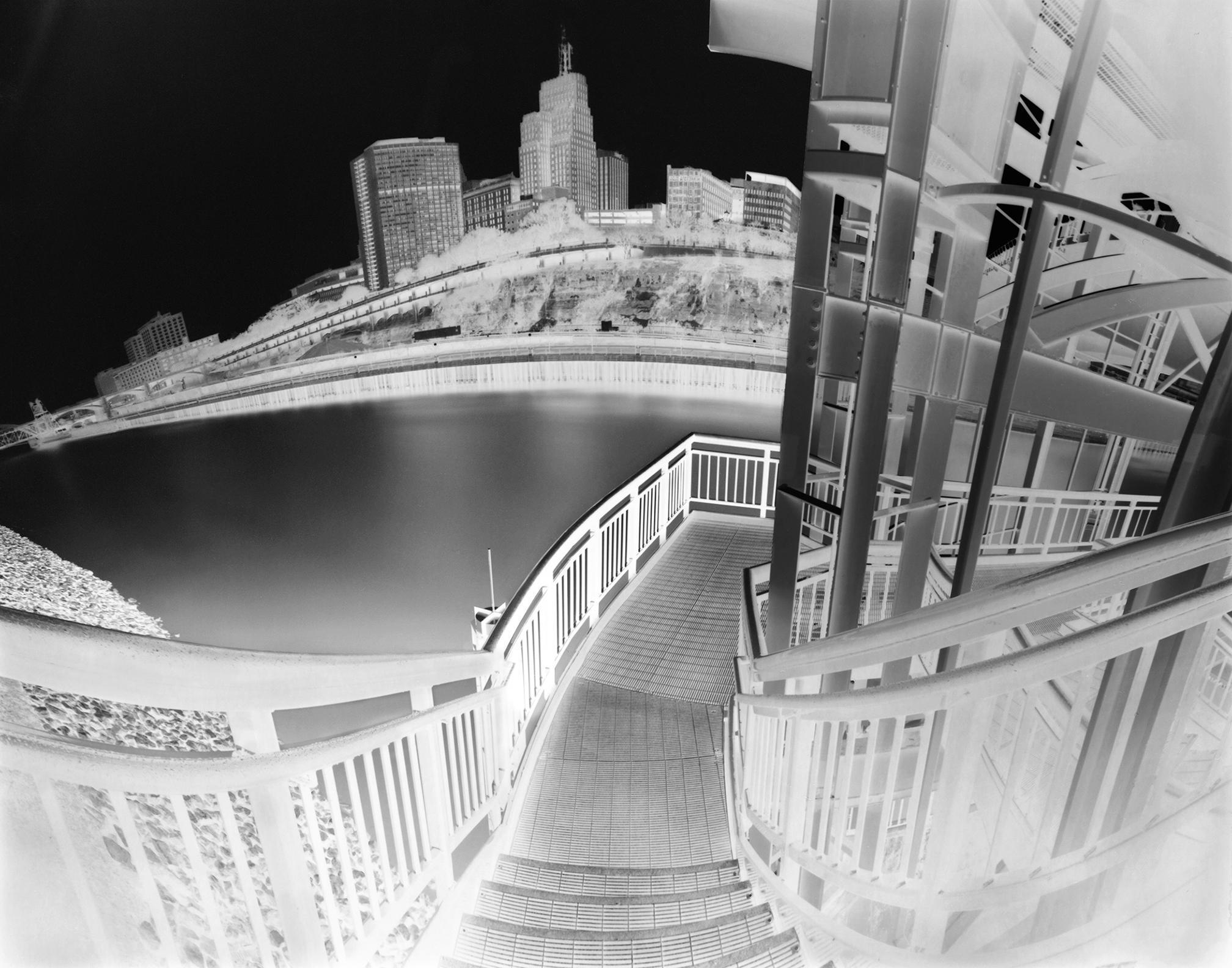 Getting There: a photograph of stairs on the Wabasha Street bridge.