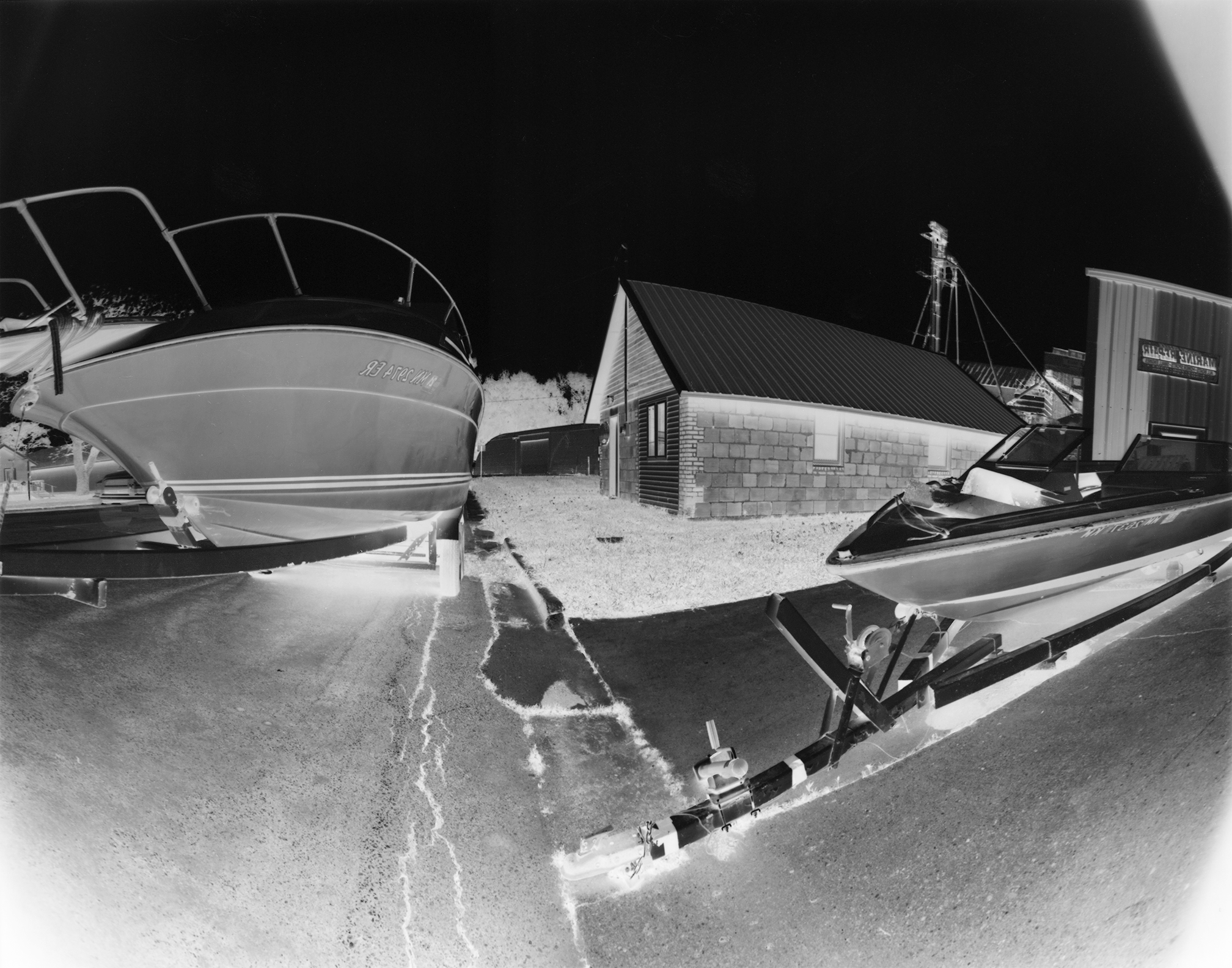 Lake Hanska - Boats: Lake Hanska township hall surrounded by boats.